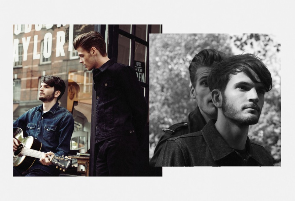 Collage Of Man Playing Guitar And One Standing In Front Of Shop In East London With Black And White Overlay Of Two Men