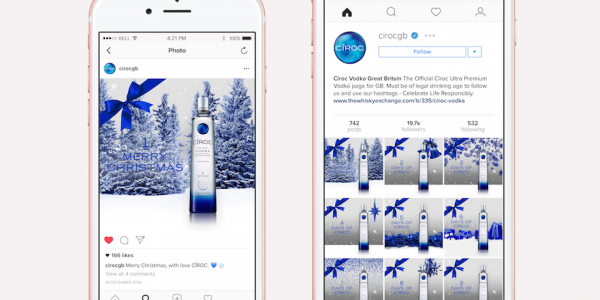 Ciroc GB Instagram Profile Showcasing Christmas Themed Countdown Images