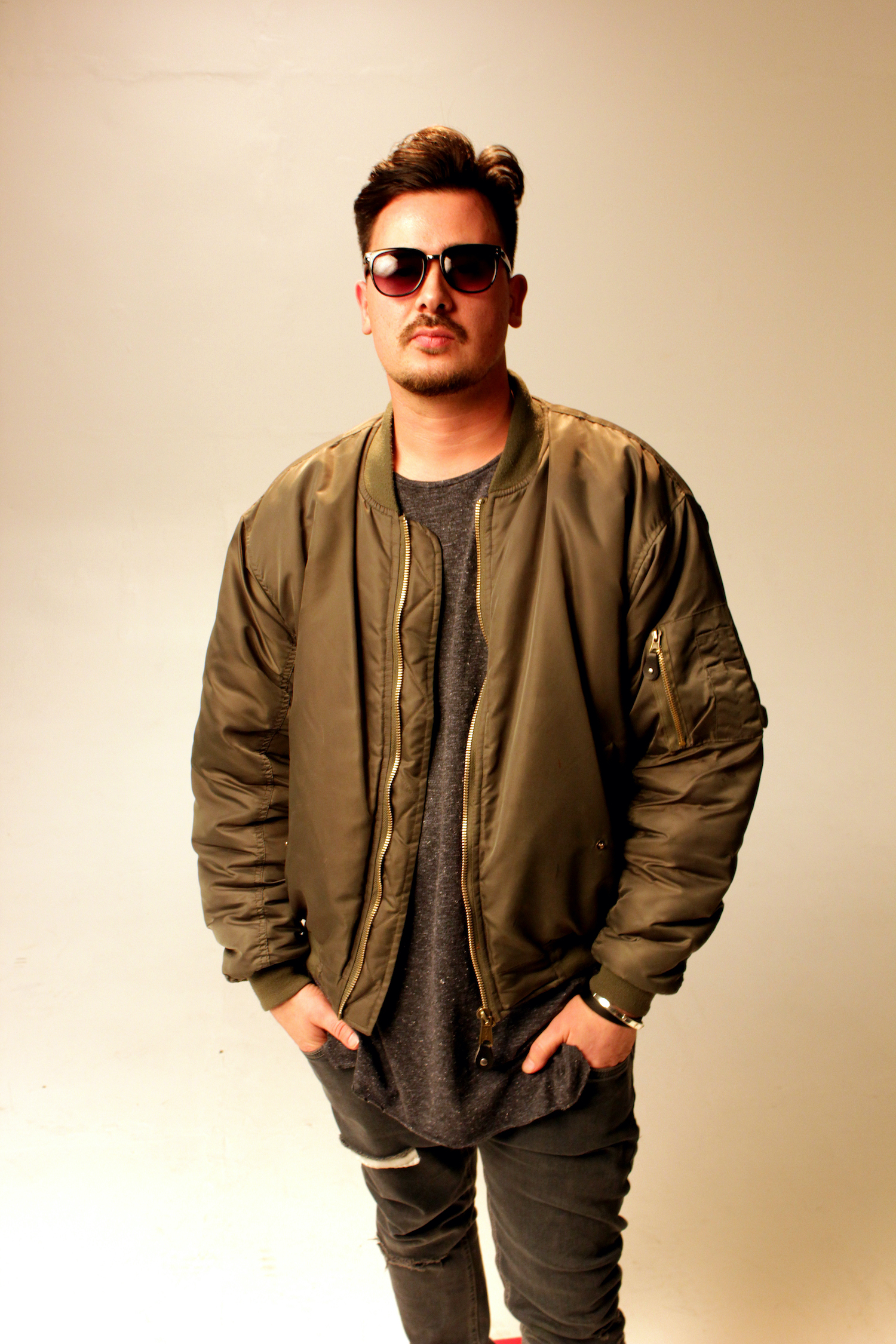 Professional Photography White Man In Green Jacket And Moustache Standing On White Studio Backdrop