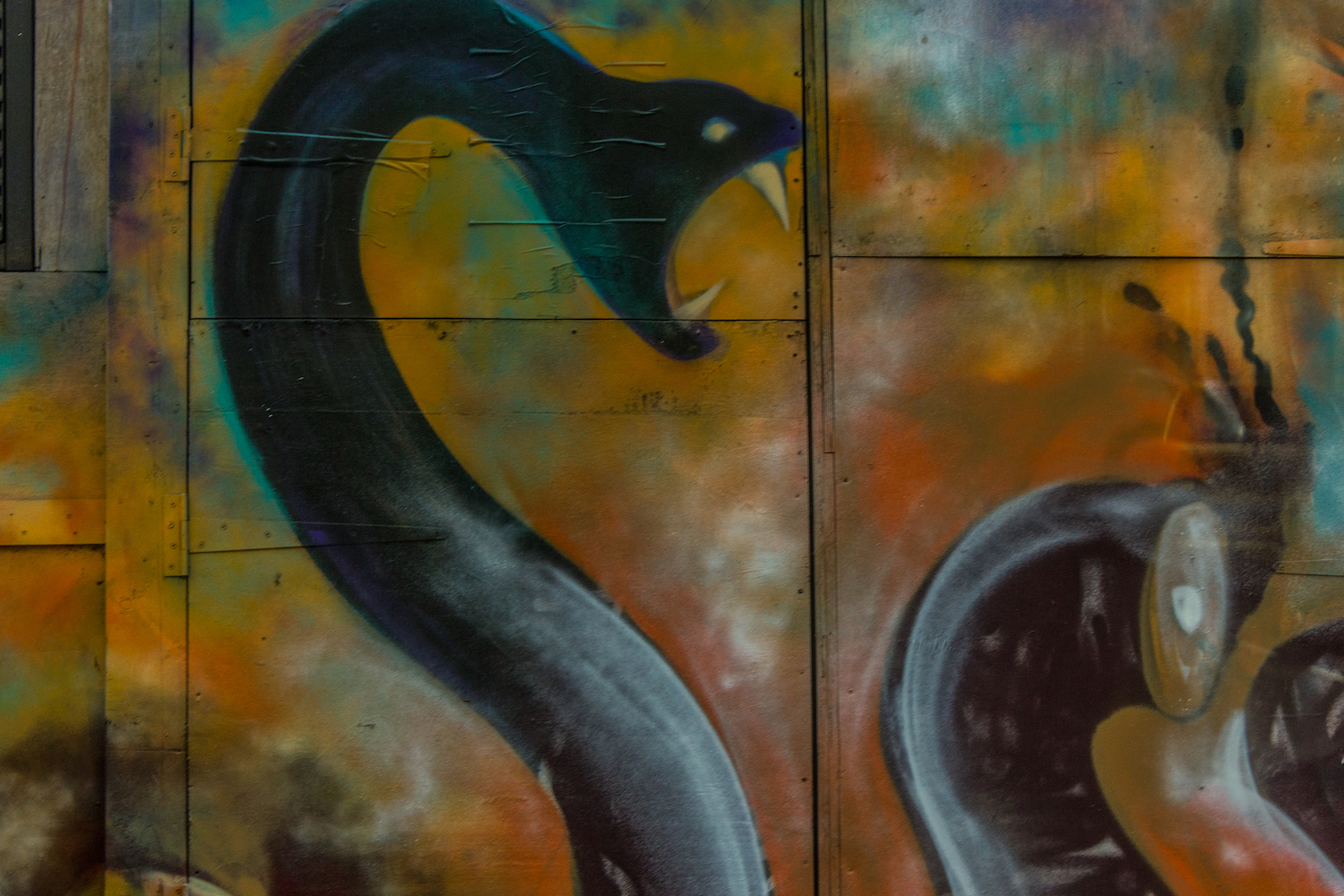 Professional Photography Graffiti Mural Of Snakes On Wall In Brick Lane East London