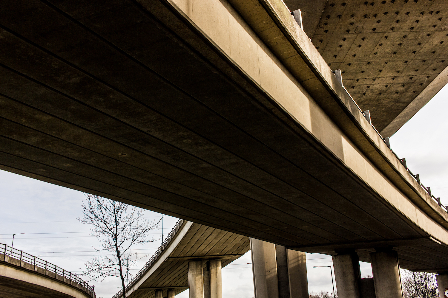 Professional Photography Concrete Roundabout In South Woodford North East London With Four Overlapping Overpasses And Pillars