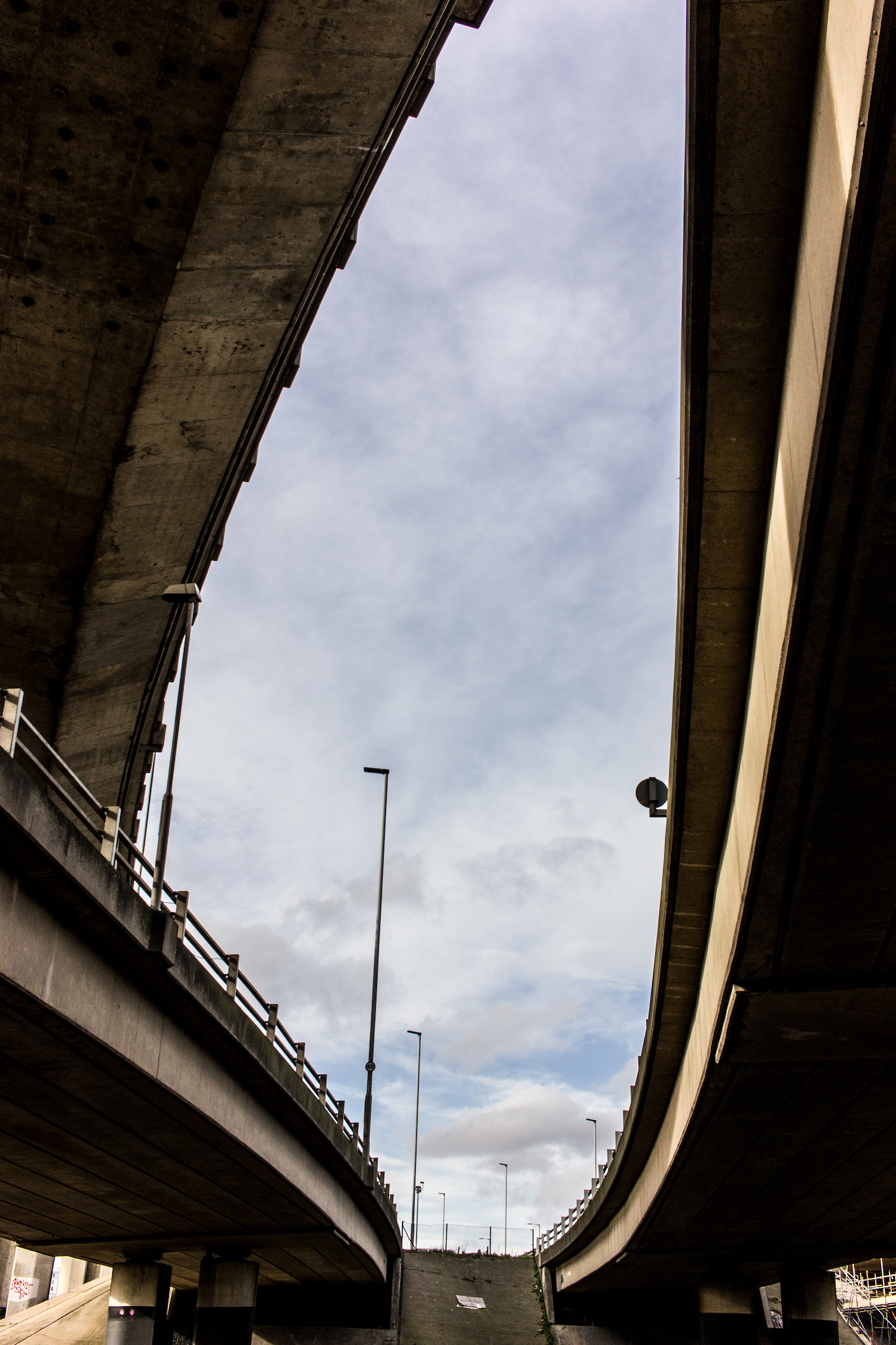 Professional Photography Concrete Roundabout In South Woodford North East London With Three Overpasses And Blue Sky