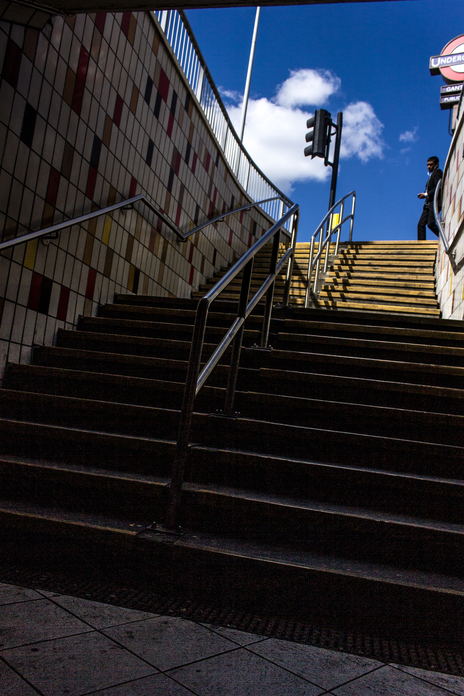 Professional Photography Exterior Descending Stairs To Station Subway In Gants Hill Train Station London