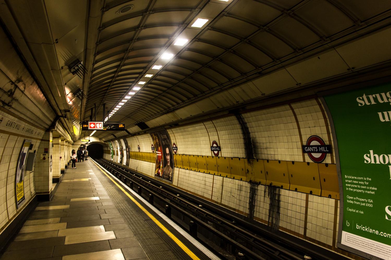 Professional Photography Gritty Train Platform In Gants Hill Train Station London