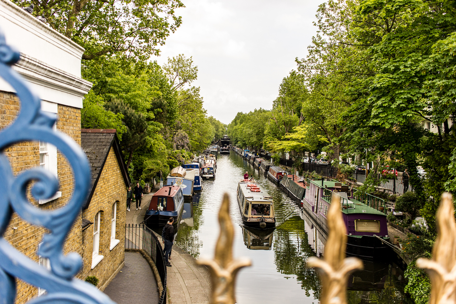 Professional Photography Landscape Of Little Venice Paddington West London With Canal Boats And Green Trees